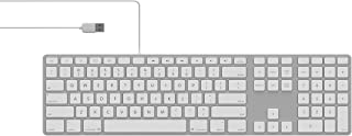 Matias FK318LS Backlit RGB Tactical USB 2.0 Wired Aluminum Keyboard with Numeric Keypad - Compatible with Mac (Silver)