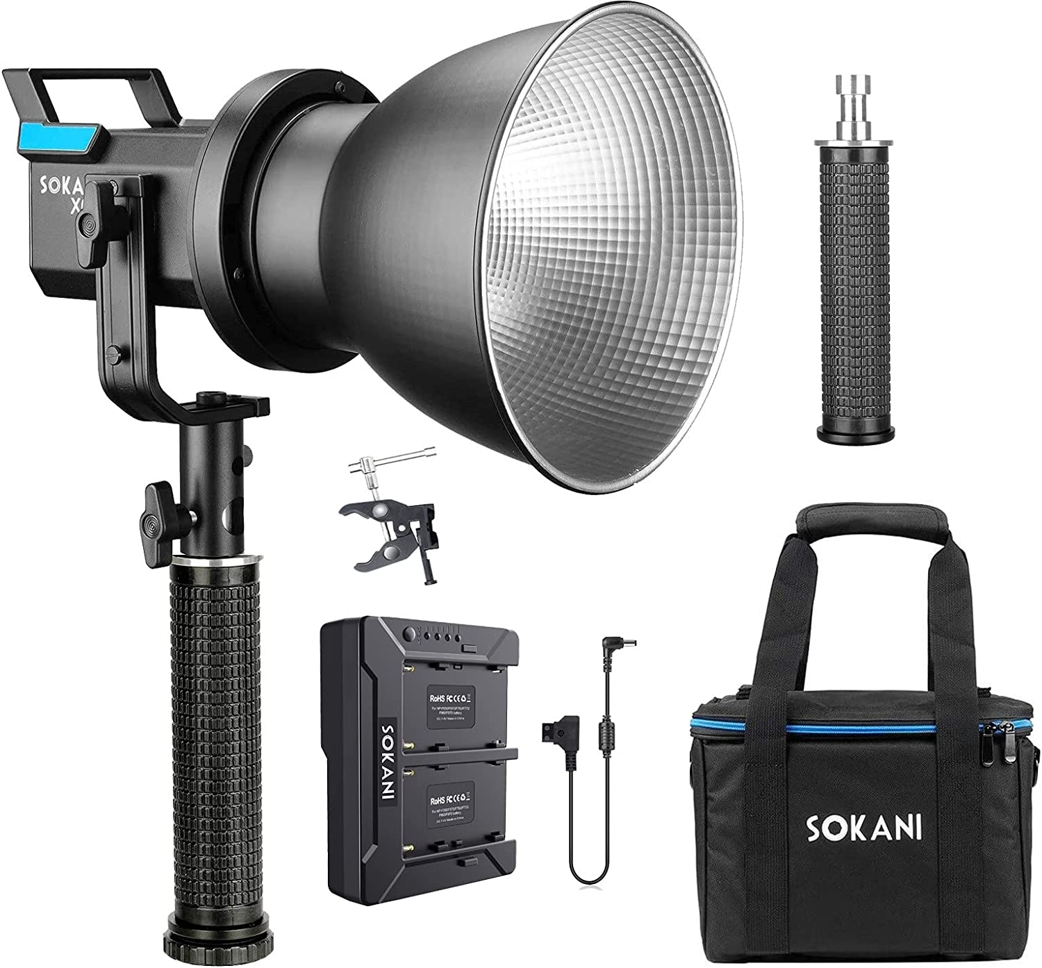 Sokani X60 V2 Minneapolis Mall with Battery Charger Handle COB LED Kit Video At the price and