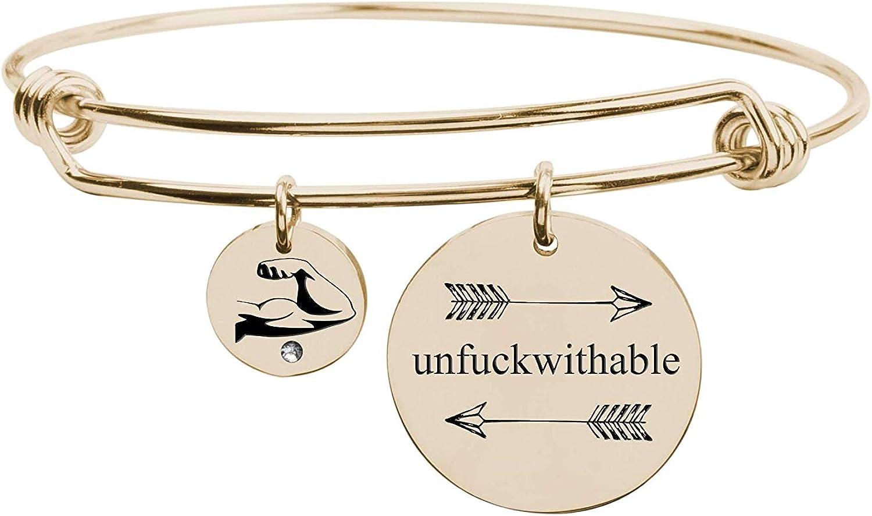 Pink Box Fun Sayings Bangle Gold - UNFUCKWITHABLE