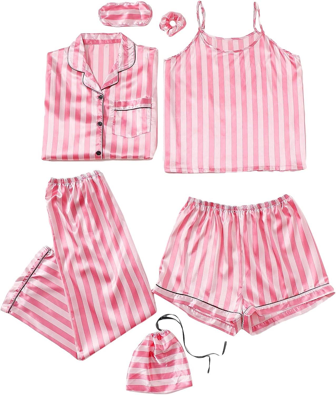 WDIRARA Women's 7 Pcs Pajama Set Comfy Cami Pjs with Shirt and Eye Mask