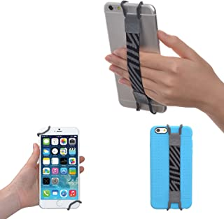 TFY Security Hand Strap Holder for iPhone, Samsung & Other Phones - iPhone Xs/Max iPhone XR iPhone X / 8/8 Plus / 6/6S (Plus) / 7/7 Plus/SE - Samsung S5 S7 / S7 Edge (Grey)