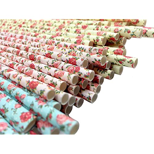 JPACO Floral Paper Straws 75 Pack Standard Size 100 Biodegradable Drinking