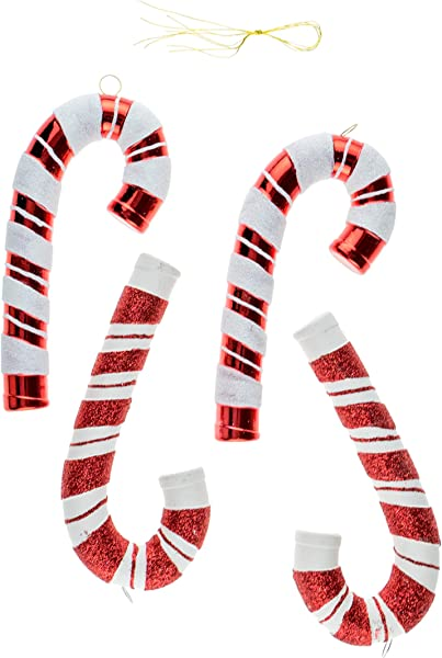 Christmas Candy Cane Shatterproof Ornament Set For Christmas Trees By Clever Creations 4 Pack Festive Holiday D Cor Timeless Classic Design Shatter Resistant Hangers Included 5 Tall