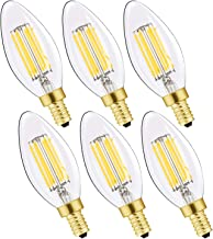 LEOOLS E12 Candelabra LED Bulbs Dimmable 60W Equivalent LED Chandelier Light Bulbs 6W Daylight White 4000K 700LM CA11 Vintage LED Filament Candle Bulb with Decorative Candle Base 6 Packs