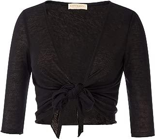 Kate Kasin Womens Tie Front Sheer Shrugs 3/4 Sleeve Lightweight Knit Cropped Bolero Cardigan