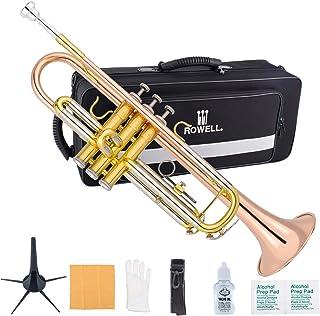 ست شیپور باس استاندارد ROWELL Trumpet Bass برای دانشجویان مبتدی و حرفه ای با کیف دستی لوکس ، دستکش ، دهان 7C و کیت تمیز شیپور (لاک طلای برنجی)
