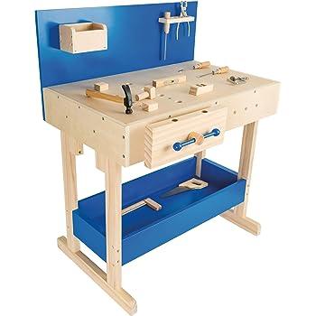 Howa Massive Werkbank Hartholz Incl Werkzeugkiste Und 32 Tlg Werkzeug 4900 Amazon De Spielzeug