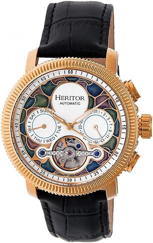 Heritor,orologio automatico, in acciaio inossidabile e cinturino in vera pelle di coccodrillo HERHR3506