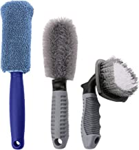 Sdootauto Car Wheel Cleaning Brush, 2 Pcs Black Tire Rim Scrub Brush and 1 Pcs Blue Fiber Wheel Rim Brush for Auto Motorcycle Bike Wheel Cleaning