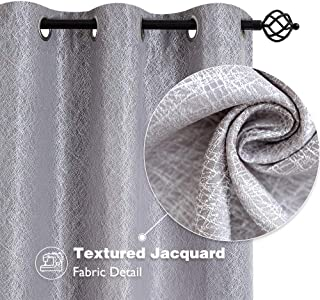 jinchan Grey Window Curtains for Bedroom Grommets Top Jacquard Contemporary Design Window Treatment Set for Living Room 63