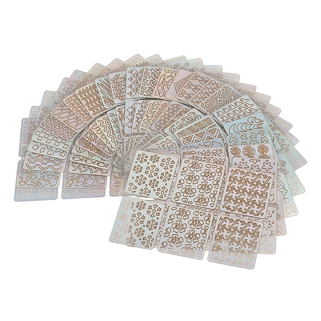 署名尊敬突破口Perfk 24個 ネイルアート チップ テープ ガイド ステンシル 中空 ステッカー マニキュア DIY ツール おしゃれ
