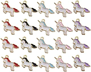 GOTONE 100 Pcs Gold Plated Cute Enamel Unicorn Charm Pendants DIY for Necklace Bracelet Earring Jewelry Making