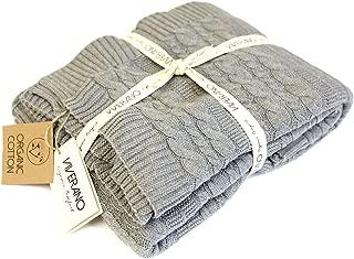 Viverano 100% Organic Cotton Throw Cable Knit Blanket (50