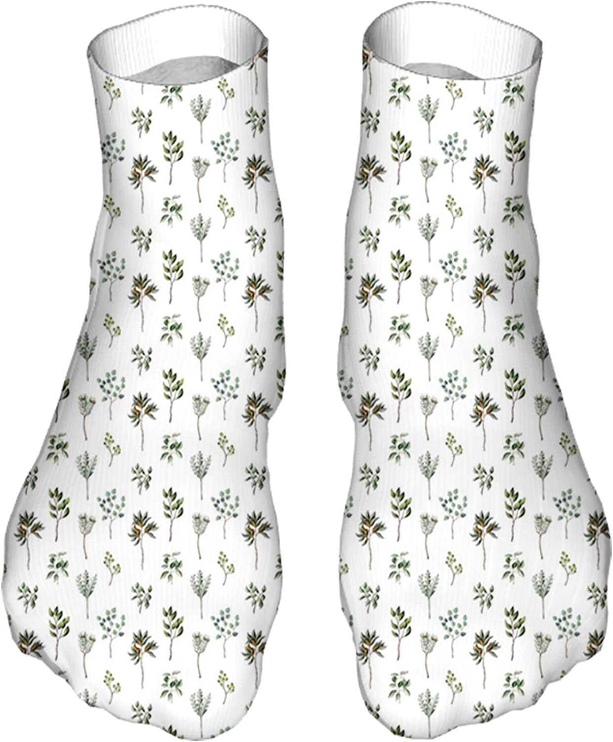 Men's and Women's Fun Socks Printed Cool Novelty Funny Socks,Illustration of Various Leaves and Plantation Nature