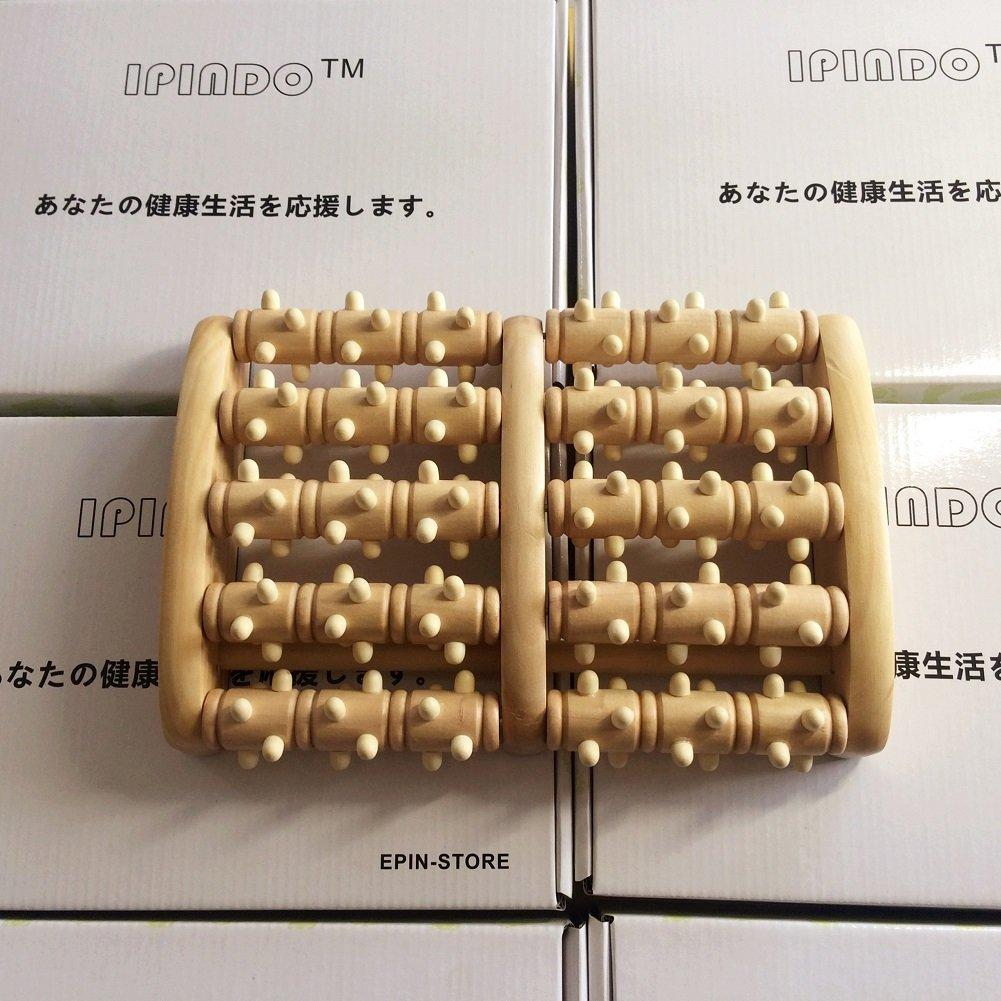 バッテリー喜劇辞書IPINDO(イッピンドウ)フットマッサージ器 足つぼマッサージ 足裏 ツボ押し ローラー 木製 リラクゼーション