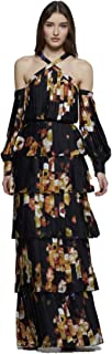 David Meister Women's Long Sleeve Tiered Evening Gown