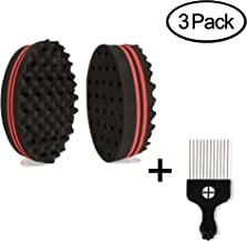 Hair Sponge Brush, KissDate Set of 2 Double Sides Small Holes(8mm Hole) Afro Curl Coil Wave Hair Sponge Brush with 6.69 Inch Metal Styling Comb