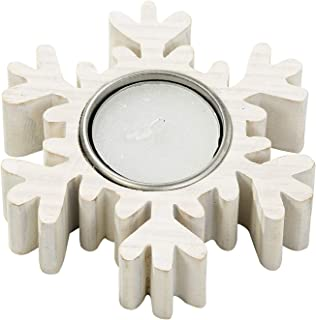 Talking Tables Nordic Christmas Wooden Snowflake Tealight Holder, White