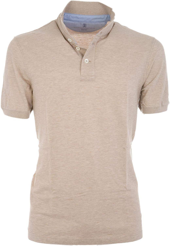 BRUNELLO CUCINELLI Men's MTS254125CO688 Beige Cotton Polo Shirt