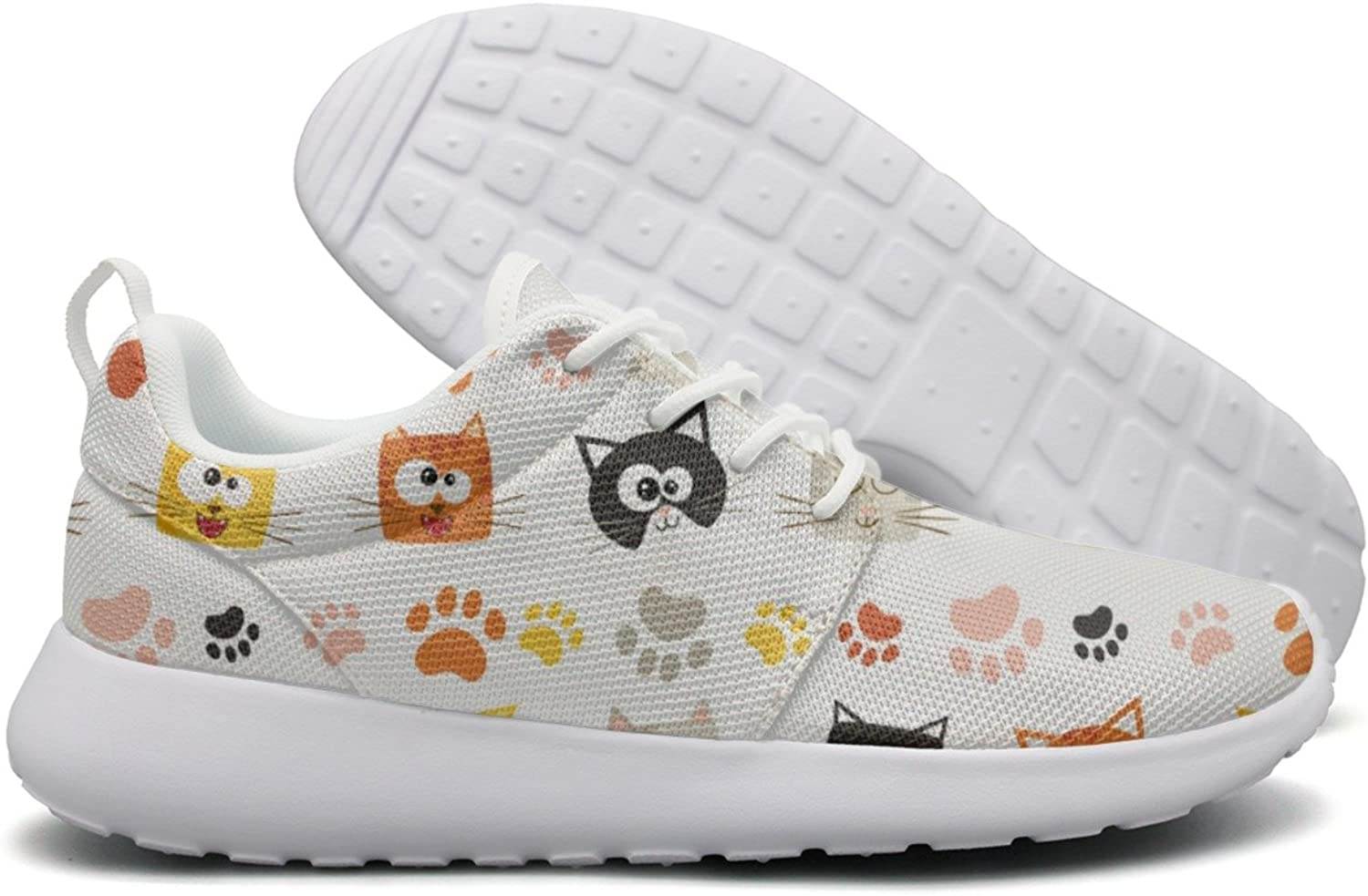 Hoohle Sports Cute Cat Face and Footprint Women Roshe One Flex Mesh Mens Casual shoes
