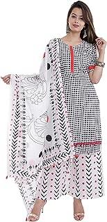 Narsinhenterprises Women's Black and White Cotton Kurti, Palazzo & Dupatta Set