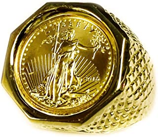 22K Fine Gold Genuine 1/10 Oz American Eagle Coin in 14k Solid Yellow gold Mens Ring