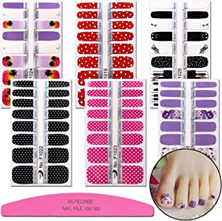 SILPECWEE 6 Sheet Self-Adhesive Nail Art Stickers Tips Spots Piano Design Nail Wraps Decals Polish Strips Set Manicure Decoration And 1Pc Nail File