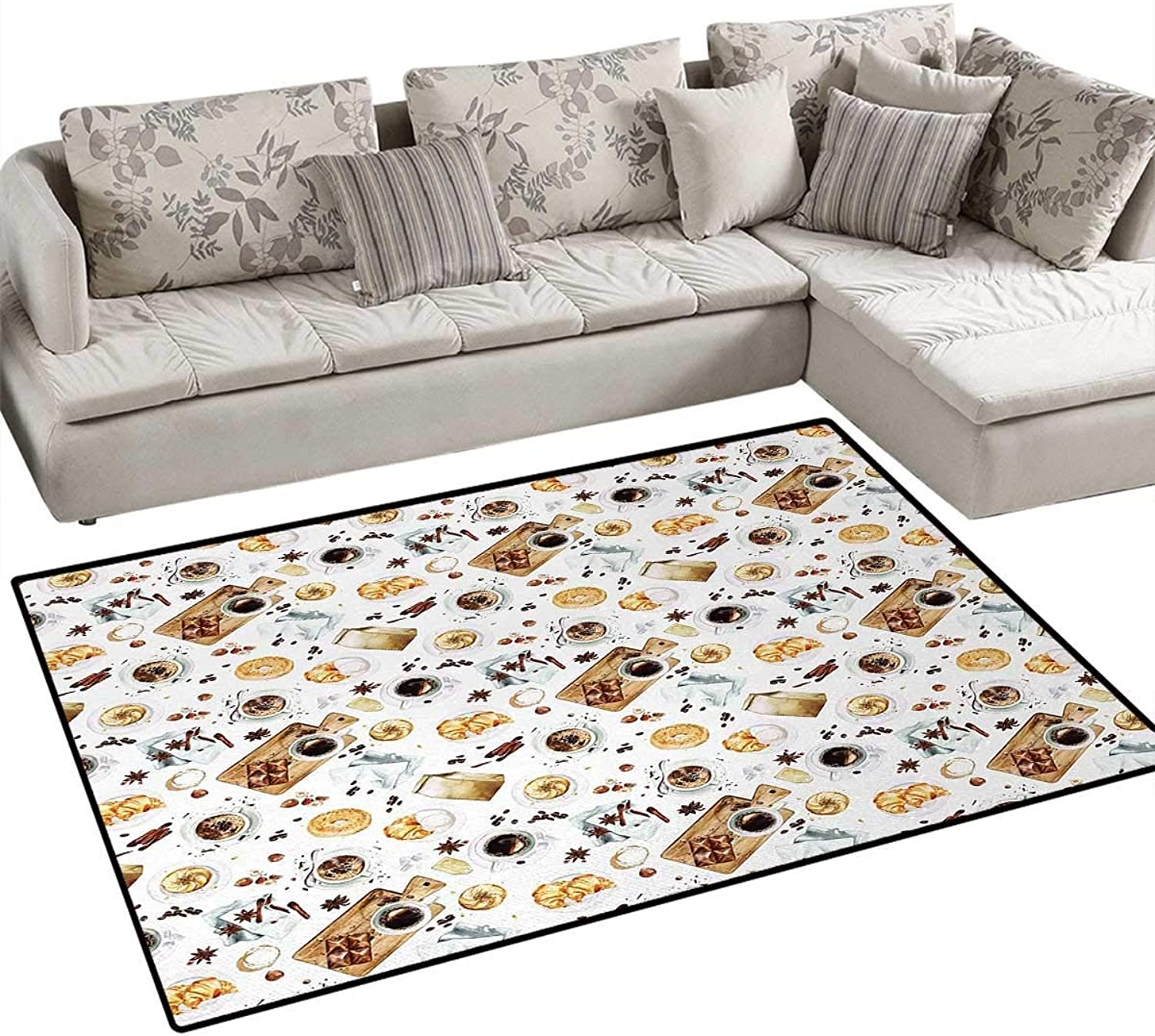 Modern,Rug,Lunch Table with Croissant Bagels Coffee Cheese Chocolate Watercolor Artwork,Floor Mat for Kids,Sand Brown White,40 x55
