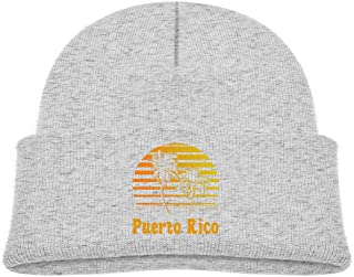 Puerto Rico Sunset Palm Trees Skull Cap Knitted Hat Toddler Boy Girl Fall Winter