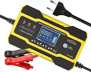 Manwe Chargeur de batterie de voiture 12 V 10 A – 24 V 5 A intelligent chargeur automatique multifonction avec écran LCD, ...