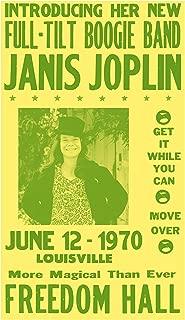 "Per Diem Printing Janis Joplin - Freedom Hall - 13""x22"" Vintage Style Showprint Poster - Home Nostalgia Decor – Wall Art Print – Concert Bill"