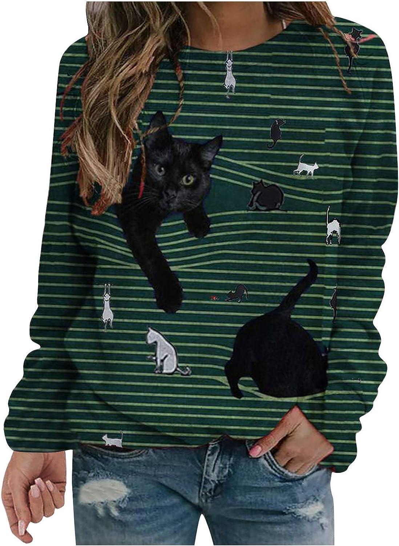 FABIURT Long Sleeve Shirts for Women, Womens Letter Print T-Shirts Sweatshirts Long Sleeve Casual Blouse Pullover Tops