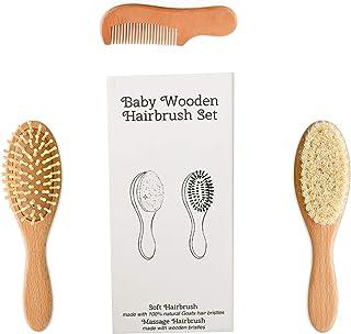 SOHAPY برس و شانه موی کودکانه چوبی 3 قطعه نرم طبیعی را برای نوزادان و کودکان نوپا ایده آل برای گهواره کلاه کودک ردیاب کودک هدیه دوش کودک (3 بسته)