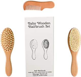 SOHAPY 3 Piece Wooden Baby Hair Brush and Comb Set Natural Soft for Newborns and Toddlers Ideal for Cradle Cap Baby Registry Baby Shower Gift (3 Pack)