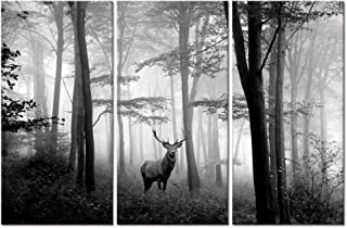 Welmeco 3 Pieces Animals Wall Decor Black and White Deer in Autumn Forest Canvas Prints Artwork for Home Office Nature Scenery Living Room Bedroom Decoration (L-48 XH-32)