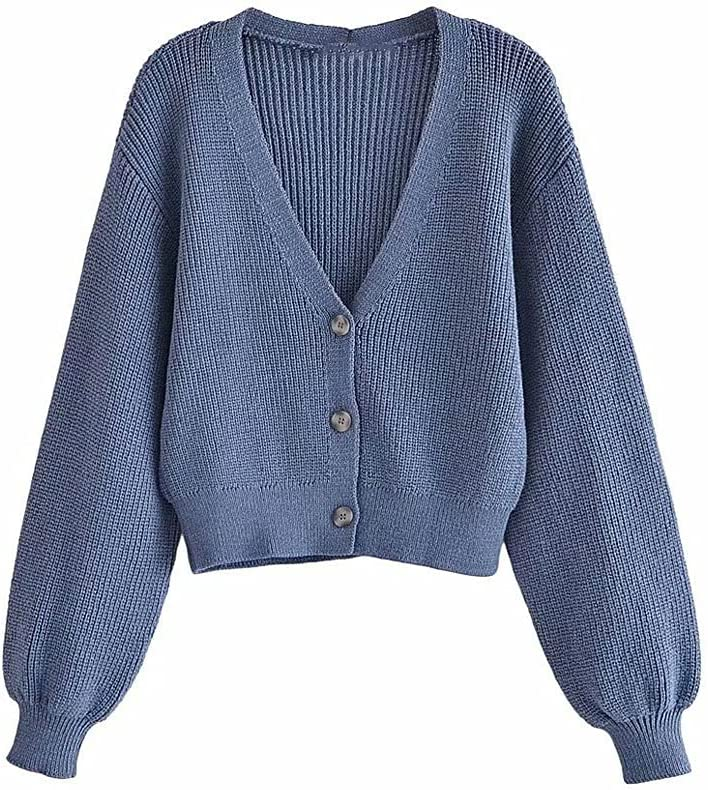 EEKLSJ Damenmode Mit Knopf Schneidnadel Pullover Pullover, Retro V-Ausschnitt Langarm Weibliche Äußere Anzug (Color : Blue, Size : L Code)