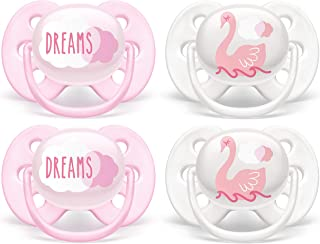 Philips AVENT Ultra Soft Pacifier, 0-6 Months, Dreams & Swan Designs, 4 Pack, SCF222/42, White/Pink