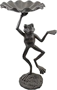 "J. Thomas Dancing Frog Cast Iron Birdbath, 22"" Tall"