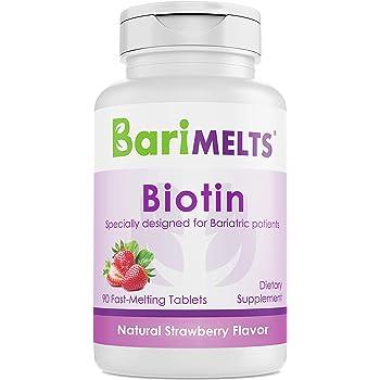 BariMelts Biotin, Dissolvable Bariatric Vitamins, Natural Strawberry Flavor, 90 Fast Melting Tablets