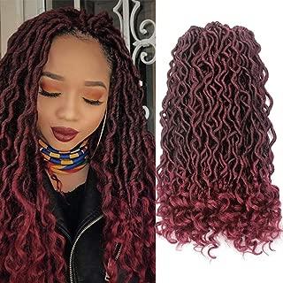 Goddess Locs Crochet Hair Wavy Faux Locs Crochet Braids Hair Deep Wave Curly Ends Synthetic Braiding Hair Extension Ombre Black Burgundy Soft Dread Lock Havana Mambo Twist Hairstyles(6Packs,T1B/Bug#)