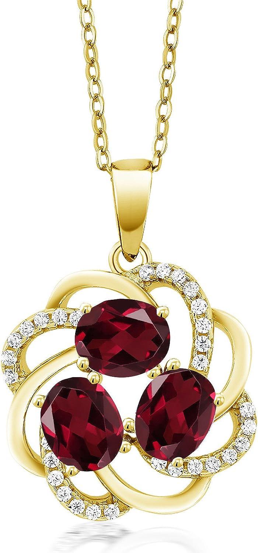 Gem Stone King Max 87% OFF Brand new 1.85 Ct Oval Garnet 18K Rhodolite Red Gold Yellow