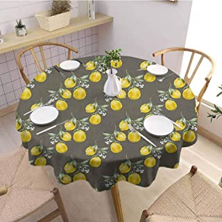 EMODFJCXZ Restaurant Round Tablecloth Floral Lemon Branches with Petals Growth Essence Nature Themed Artsy Print Picnic D54 Army and Olive Green Yellow