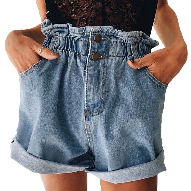 レティース 復古 ハイウエスト 修身 ビーチパンツ ジーンズ 半ズボン 夏 レジャー ゆとり ショートパンツ 3色 黒 白 青