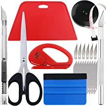Wallpaper Smoothing Tool kit, Scraper, Carving Knife (6 blades), Artistic Knife (10 blades), Small scissors, Black tape, C...