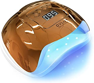 128W UV Nail Lamp Lamp - خشک کننده سریع ناخن های ژل سریع پخت مانیکور و پدیکور - ولتاژ دوتایی با کابل بلند ، کتابچه راهنمای چند زبانه - لامپ ژل حرفه ای برای خانه ها و سالن ها توسط OVLUX، Gold