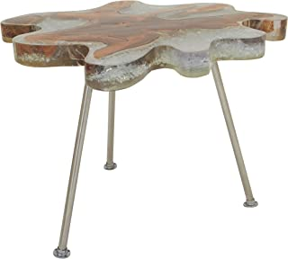 Deco 79 Teak Resin Stainless Steel Accent Table, 26