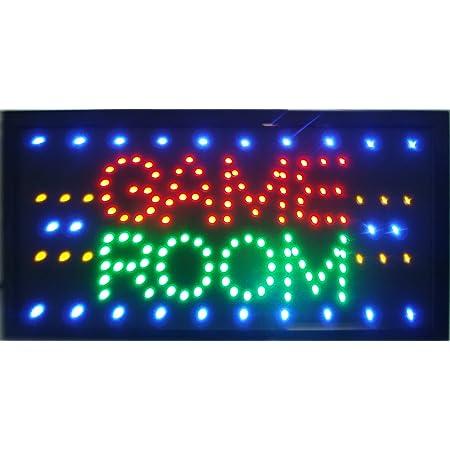 """CHENXI LED-Schild mit """"Game Room""""-Aufschrift, Display 48x25cm, für Spielzimmer/Billard/Gioco Poker/Golf/Sport/Entertainment, zur Innennutzung"""