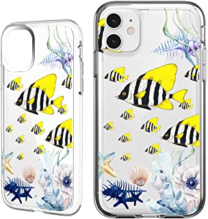 Shark Summer Aloha Ocean Collection Sea Shell sea Turtle Fish Clear Back case for iPhone XR