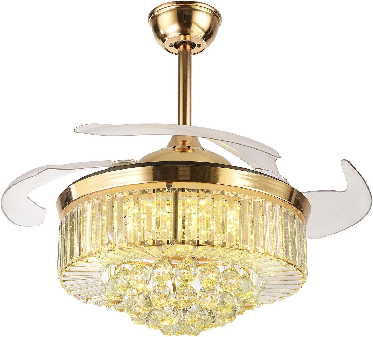 OUKANING ventilador de techo con iluminación y control remoto ventilador luz cristal LED lámpara de techo ala retráctil lámpara de techo para dormitorio sala comedor (Dorado, 42pulgada)
