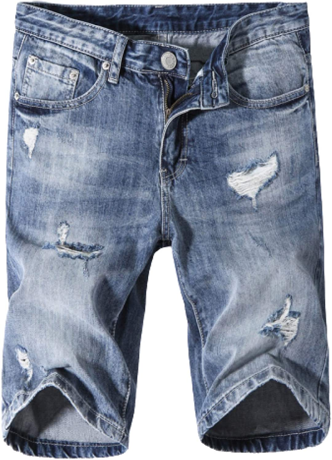 Men's Denim Shorts Fashion Ripped Hole Simple Wild Trend Personality Straight